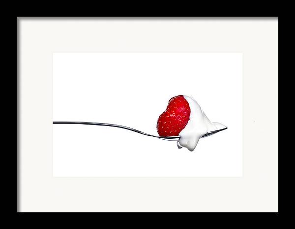 Aphrodisiac Framed Print featuring the photograph Strawberry And Cream by Gert Lavsen