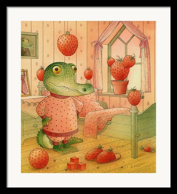 Strawberry Childrens Room Dream Framed Print featuring the painting Strawberry Day by Kestutis Kasparavicius