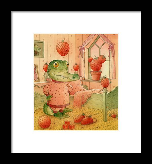 Strawberries Childrens Room Dream Kitchen Pink Crocodile Red Framed Print featuring the painting Strawberry Day by Kestutis Kasparavicius