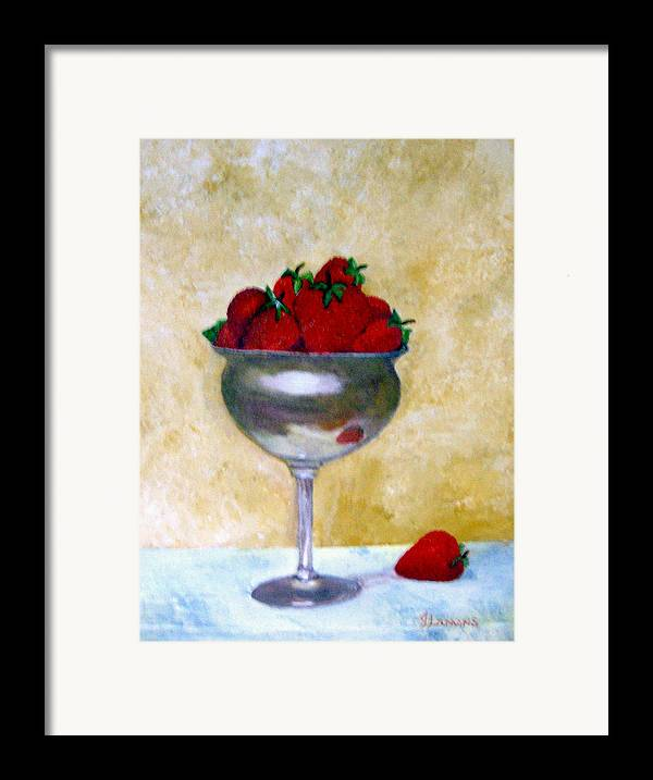 Still Life Framed Print featuring the painting Strawberry Feast by Julie Lamons