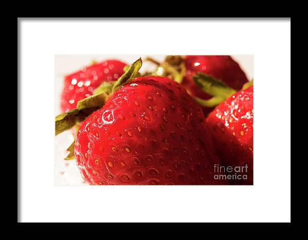 Strawberry Framed Print featuring the photograph Strawberry Fun by Michelle Himes
