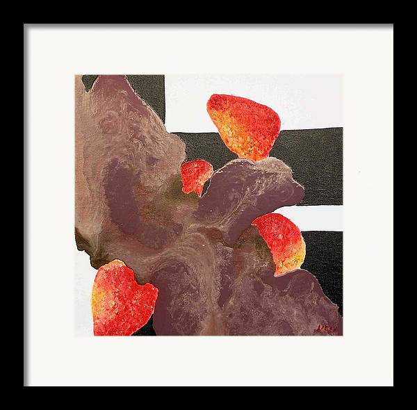 Framed Print featuring the painting Strawberry In Chocolate by Evguenia Men