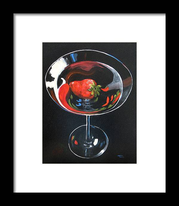 Bar Art Framed Print featuring the painting Strawberry Martini by Torrie Smiley