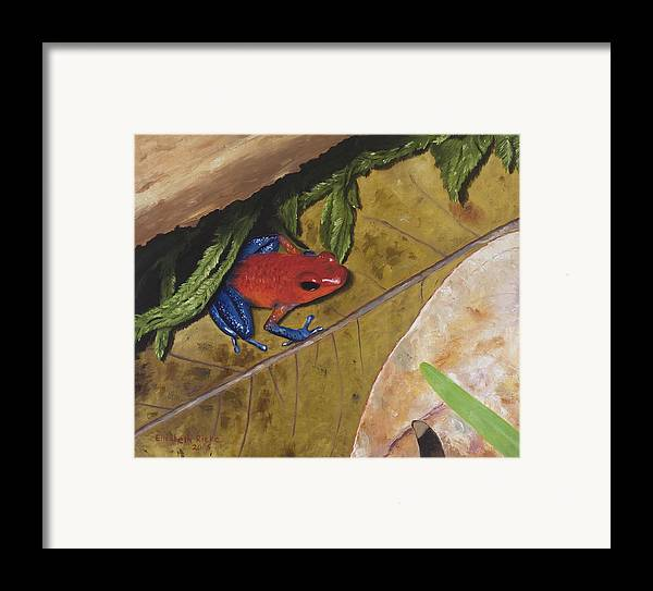 Poison Dart Frog Framed Print featuring the painting Strawberry Poison Dart Frog by Elizabeth Rieke Hefley
