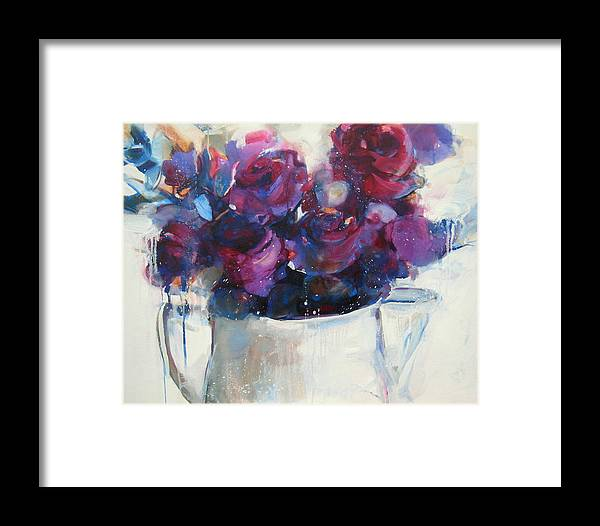 Rose Framed Print featuring the painting Strawberry Ripple by Sharleen Boaden