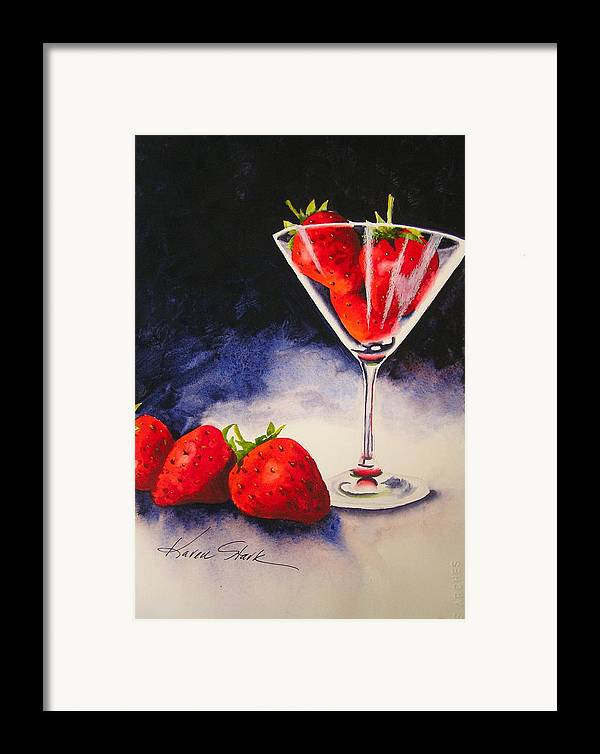 Strawberry Framed Print featuring the painting Strawberrytini by Karen Stark