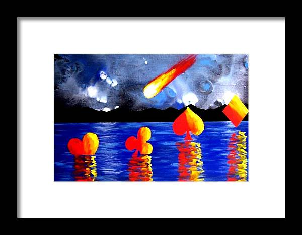 Streaking Framed Print featuring the painting Streaking Comet Poker Art by Teo Alfonso