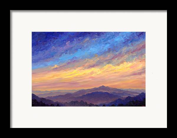 Cold Mountain Framed Print featuring the painting Streaking Sky Over Cold Mountain by Jeff Pittman