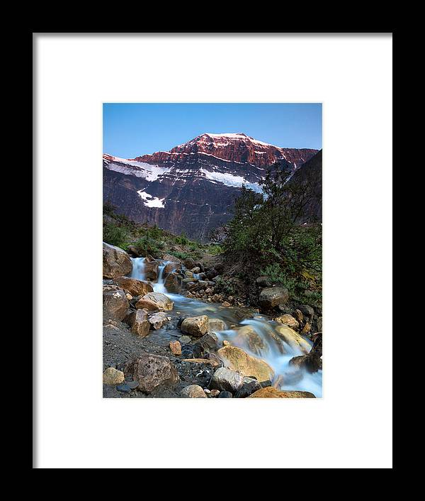 Jasper Framed Print featuring the photograph Stream And Mt. Edith Cavell At Sunset by Cale Best