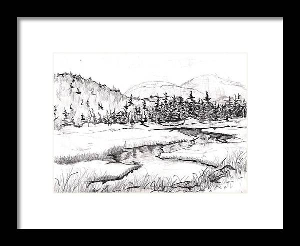 Landscape Framed Print featuring the drawing Stream by Katina Cote