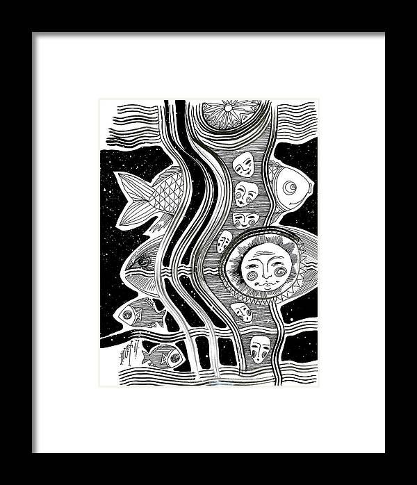 Figurative Framed Print featuring the drawing Streams by Inga Vereshchagina
