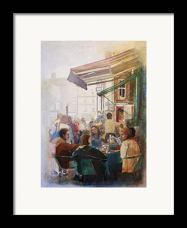 Cafe Framed Print featuring the painting Street Cafe by Victoria Heryet