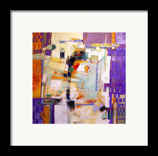 Abstract Framed Print featuring the painting Street Fair by Dale Witherow