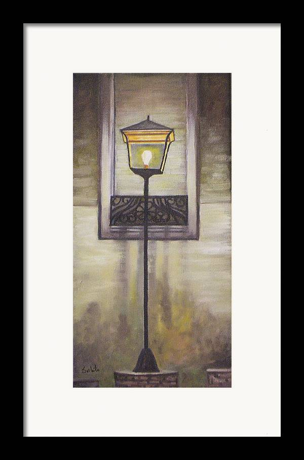 Landscape Framed Print featuring the painting Street Lamp by Srilata Ranganathan