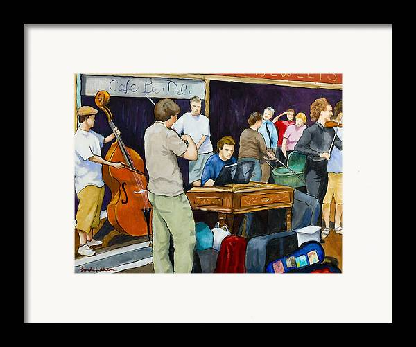 Figurative Framed Print featuring the painting Street Musicians In Dublin by Brenda Williams
