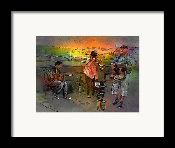 Music Framed Print featuring the painting Street Musicians In Prague In The Czech Republic 03 by Miki De Goodaboom