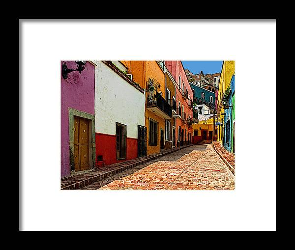 Olden Mexico Framed Print featuring the photograph Street Of Color Guanajuato 5 by Mexicolors Art Photography