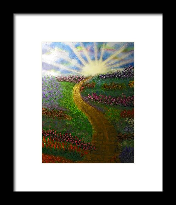 Acrylics Framed Print featuring the painting Street Of Gold by Laurie Kidd