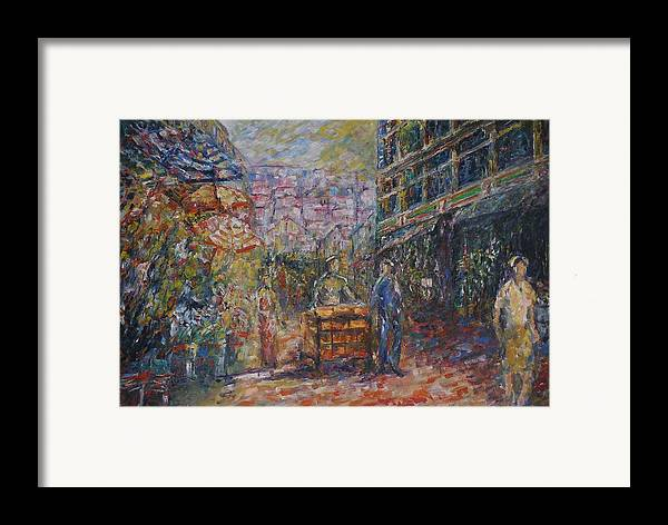 Street Framed Print featuring the painting Street Peddler - Kl Chinatown by Wendy Chua