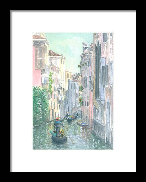 Venice Framed Print featuring the painting Street Scene by Dan Bozich