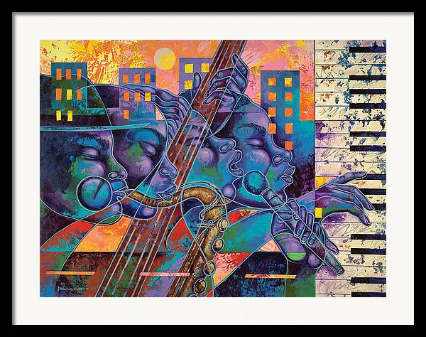 Figurative Framed Print featuring the painting Street Songs by Larry Poncho Brown