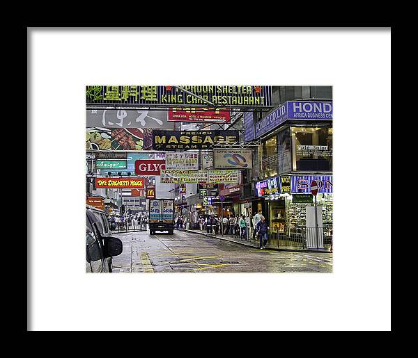 Advertising Framed Print featuring the photograph Streets Of Hong Kong by Mark Coran