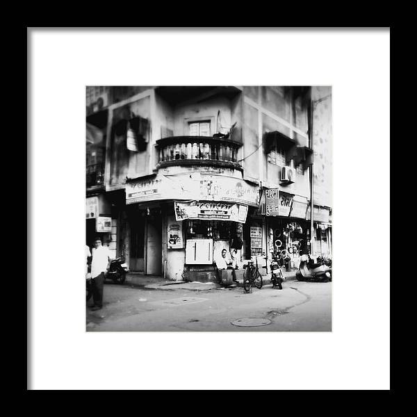 #street Photograohy #crossroads #street Corners #street Shops Framed Print featuring the photograph StreetShots_Surat by Priyanka Dave