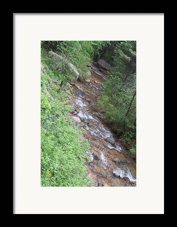 Landscape Framed Print featuring the photograph Streming Down The Rocky Way by Sarah Bauer