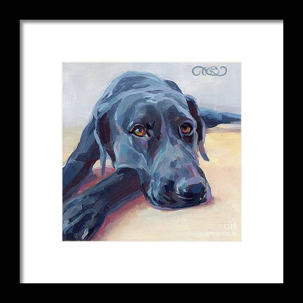 Black Lab Framed Print featuring the painting Stretched by Kimberly Santini