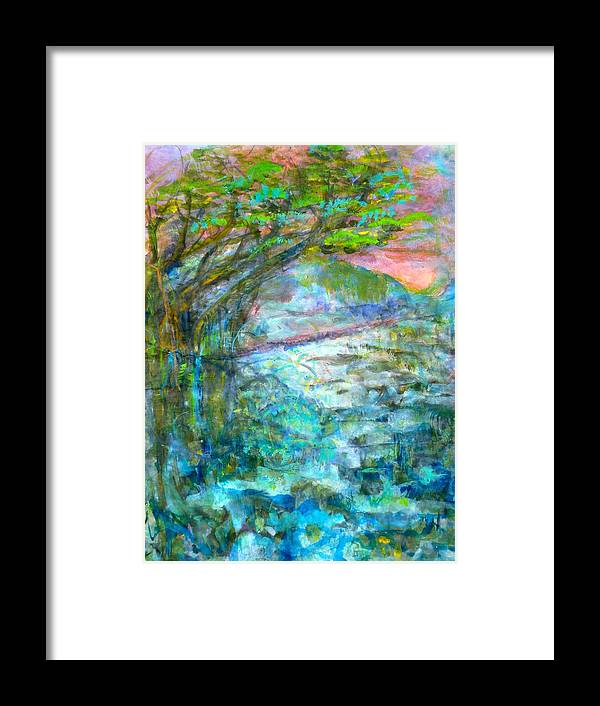 Splash Ink Watercolor Framed Print featuring the painting Stretching Cypress by Phoenix Simpson
