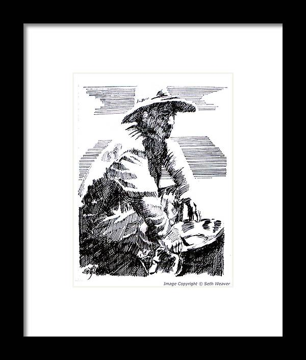1850's Old West Framed Print featuring the drawing Striking It Rich by Seth Weaver