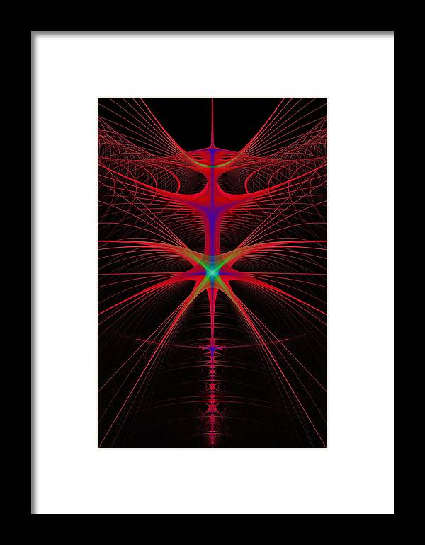 Abstract Framed Print featuring the digital art String Alien by Frederic Durville
