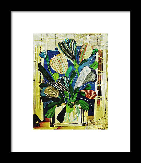Tulip Framed Print featuring the mixed media Striped Tulips At The Old Apartment by Sarah Loft