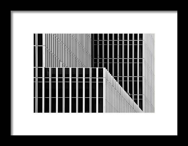 Architecture Framed Print featuring the photograph Stripes And Windows by Greetje Van Son