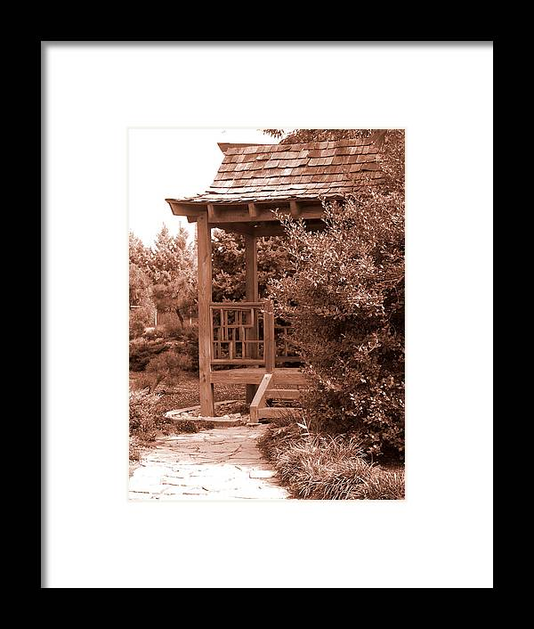 Sepia Framed Print featuring the photograph Stroll Garden 2 by Audrey Venute