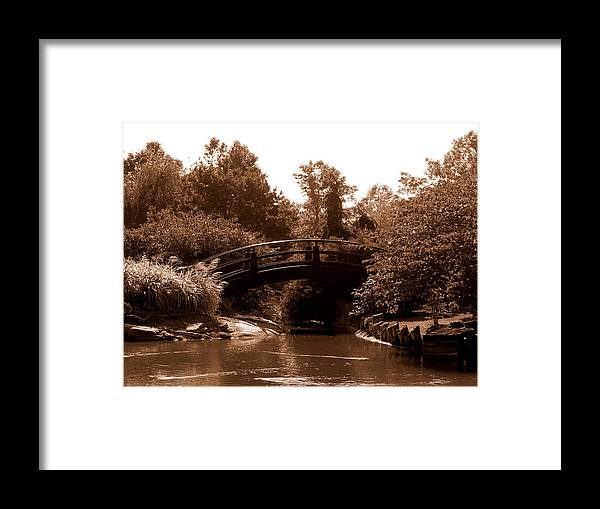 Sepia Framed Print featuring the photograph Stroll Garden Bridge by Audrey Venute