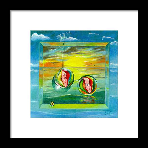 Surrealism Framed Print featuring the painting Strollin Miami Beach at Sunset by Roger Calle