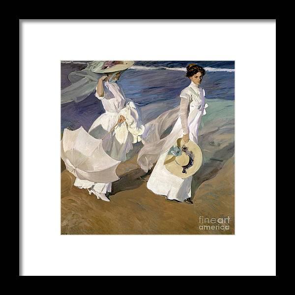 Sorolla Framed Print featuring the painting Strolling along the Seashore by Joaquin Sorolla y Bastida