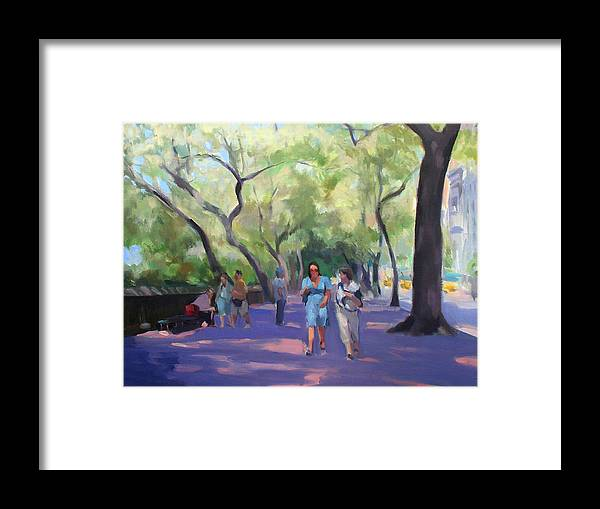 New York Framed Print featuring the painting Strolling In Central Park by Merle Keller