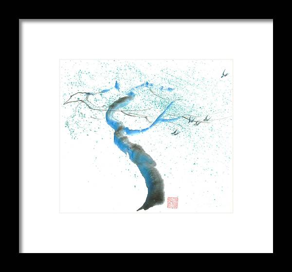 A Swaying Tree With Birds Framed Print featuring the painting Strong Wind by Mui-Joo Wee