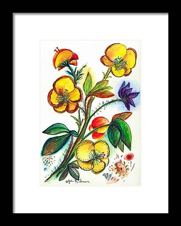 Nature Framed Print featuring the painting Strong Yellow Flowers by Julie Richman