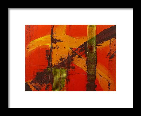 Abstract Framed Print featuring the painting Structure In Orange by Charles Morford