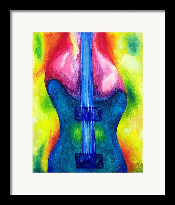 Vivid Contemporary Abstract Framed Print featuring the painting Strung Out by Shasta Miller