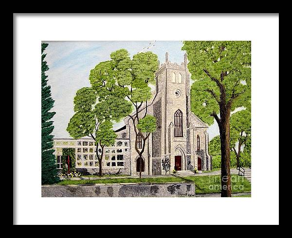 Historic Churches In Ontario Painting Framed Print featuring the painting St.Thomas Anglican Church Belleville Circa1821 by Peggy Holcroft