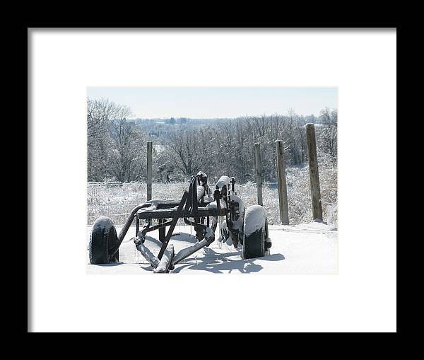 Landscape Framed Print featuring the photograph Stuck In The Snow by Martie DAndrea