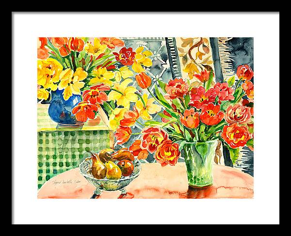 Watercolor Framed Print featuring the painting Studio Still Life by Ingrid Dohm