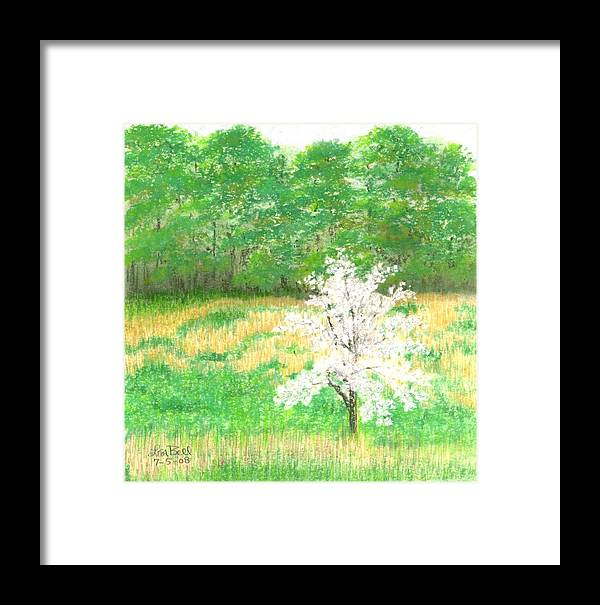 Landscape Framed Print featuring the painting Studio Windows-7-5-08-dogwood by Lisa Bell