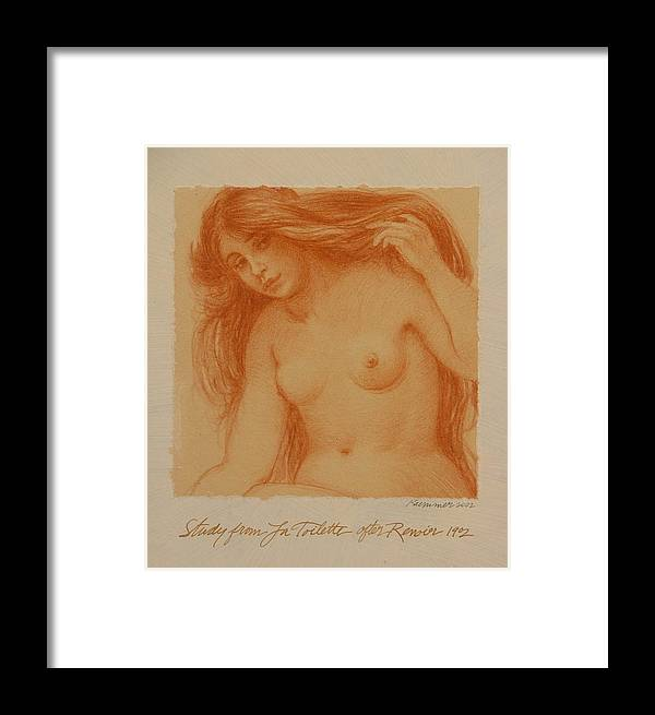 Female Framed Print featuring the painting Study From La Toilette After Renoir by Gary Kaemmer