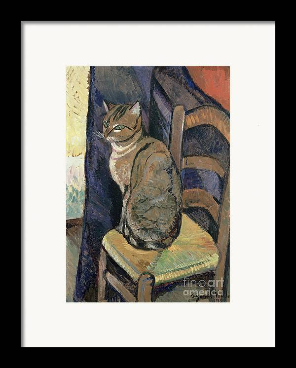 Study Framed Print featuring the painting Study Of A Cat by Suzanne Valadon