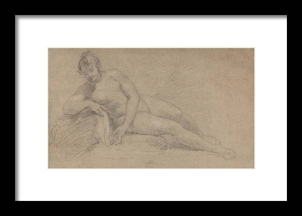 William Hogarth Framed Print featuring the drawing Study Of A Female Nude by William Hogarth